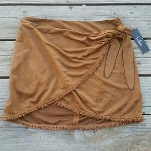 Lulus Wrap Skirt Sz Medium Brown